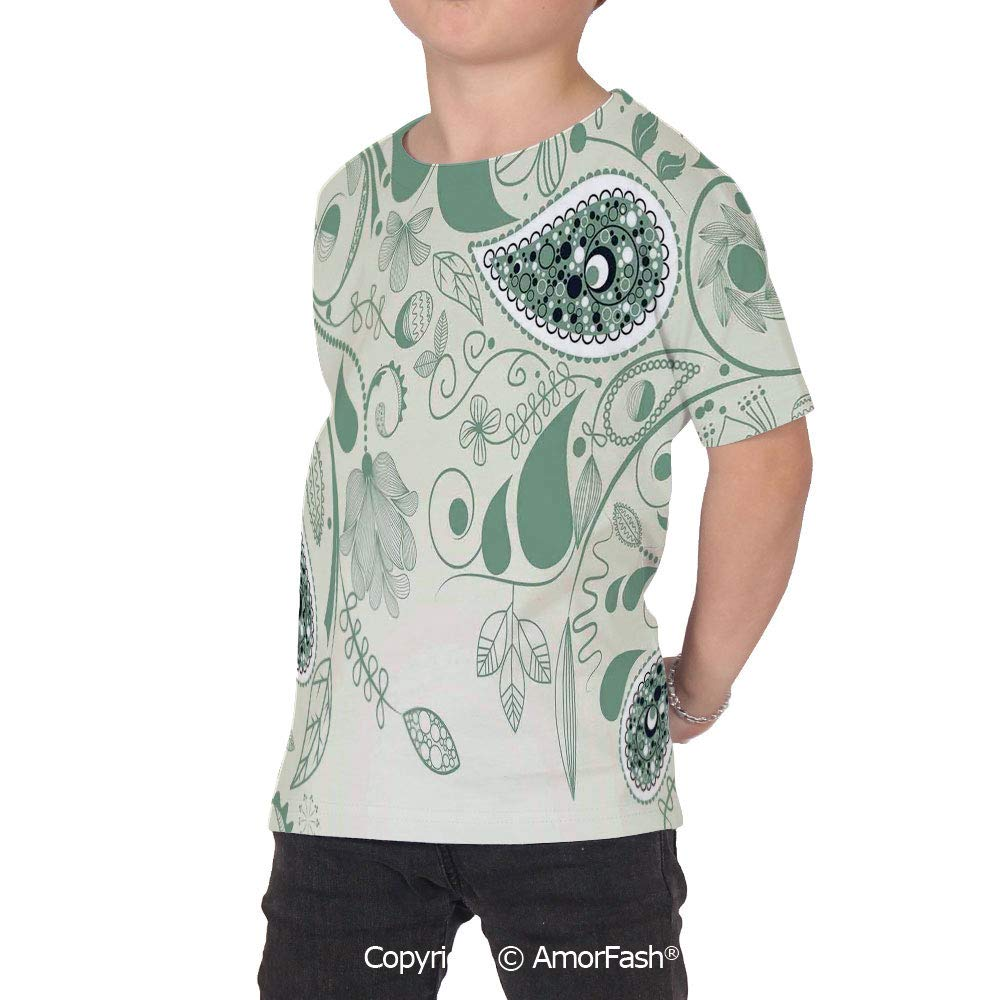 Paisley Decor Childrens Short Sleeve Cool T-Shirt,Polyester,Vintage Floral Pais