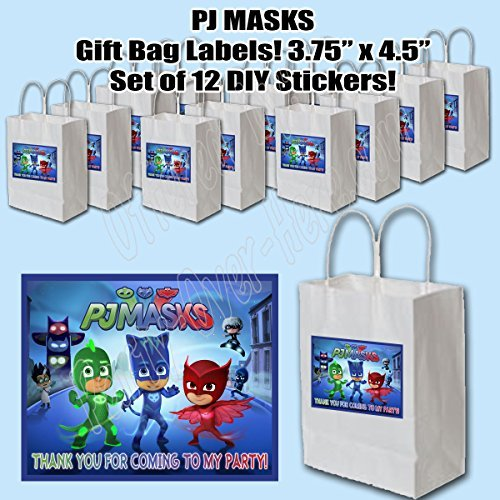 PJ Masks Party Favors Supplies Decorations Gift Bag Label STICKERS ONLY 3.75