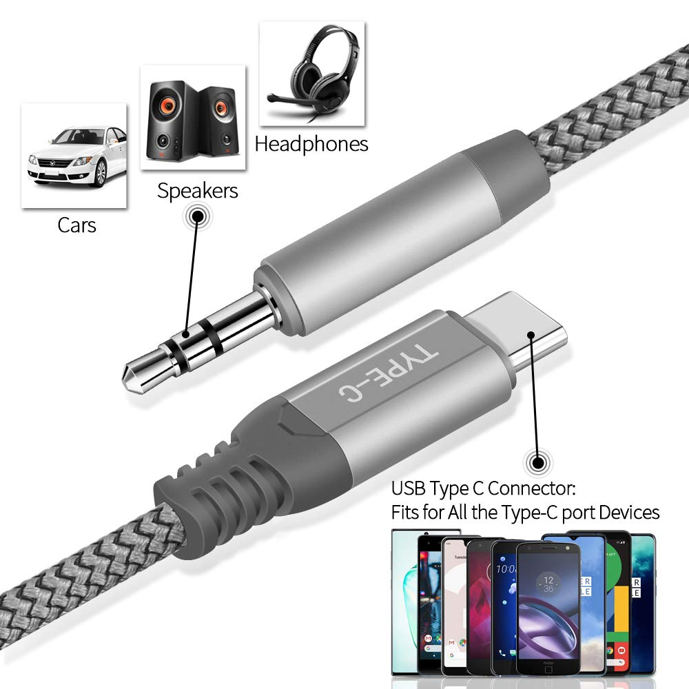 USB C to 3.5mm Audio Cable iMangoo 6.6ft Type C Male to 3.5mm Male Extension Aux Cable Long Braided Cord Headphone Car Stereo Adapter Auxiliary Converter Cable for Google Pixel 3//4 XL Galaxy Note 10