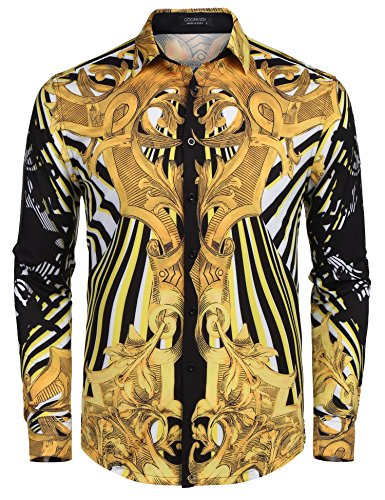 - COOFANDY Men's Long Sleeve Luxury Print Dress Shirt Graphic Button Down Shirt, Brown(leopard Pattern), Large
