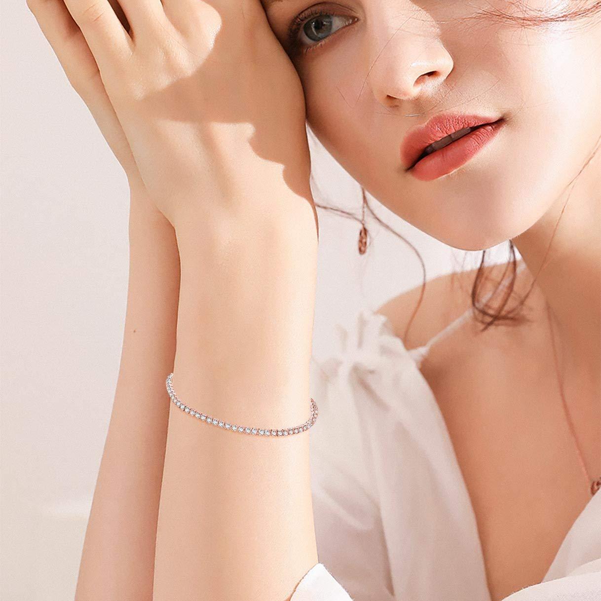 Richapex Womens Platinum Plated Silver Adjustable Cubic Zirconia Slider Tennis Bracelet with Swarovski Crystal