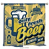 Rod Pocket Curtain Panel Thermal Insulated Blackout Curtains for Bedroom Living Room Dorm Kitchen Cafe/2 Curtain Panels/55 x 45 Inch/Man Cave Decor,Delicious Fresh Premium Beer Old Fashion Graphic Des