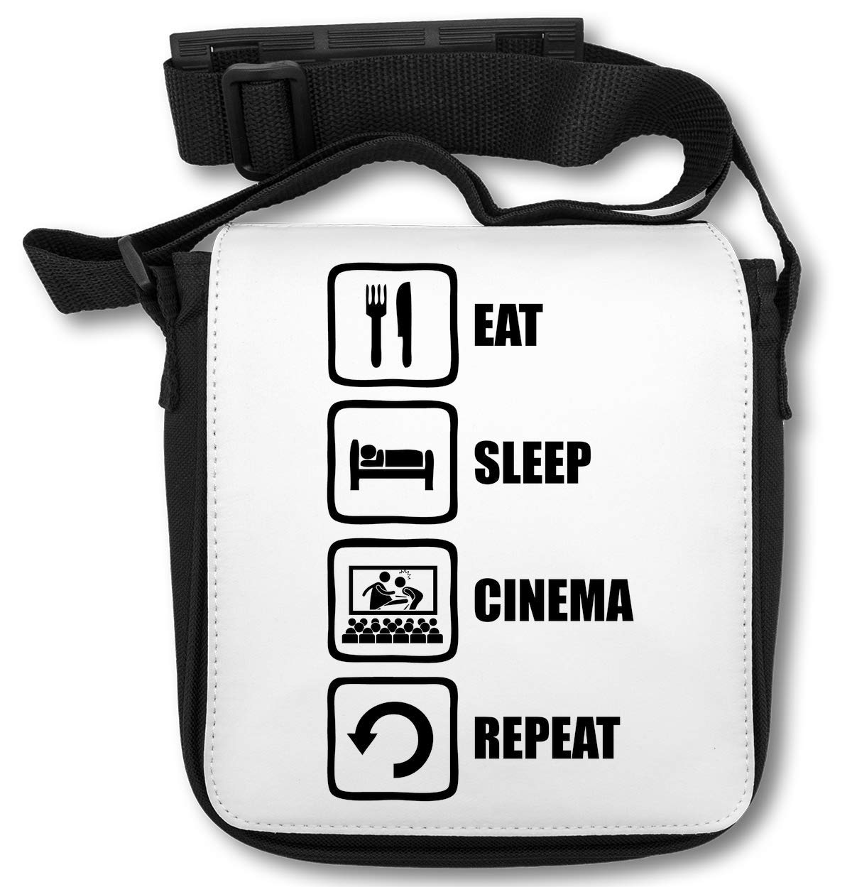 Eat Sleep Cinema Repeat Funny Black Graphic Sac d\'épaule