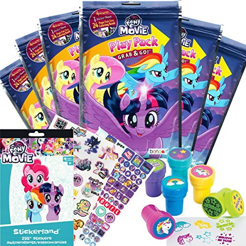 My Little Pony Party Favor Set - 6 Grab & Go Coloring Book Play Packs, 295 MLP The Movie Stickers, 6 Unicorn Themed -