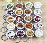 20pcs/lot 3cm Kitchen Toys Simulation Food Miniature Chinese Dessert Ramen Noodles Key Chain Key Rings Pretend Play Toy