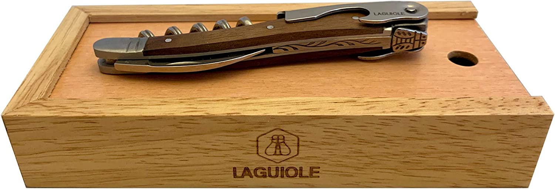 Laguiole Waiters Corkscrew Walnut Set Wooden Gift Box