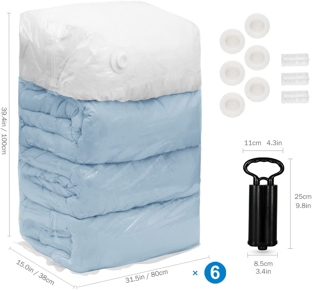 TAILI Cube Vacuum Space Saver Bags Jumbo Size 80x100x38 cm 6 Pack Extra Large Compressed storage Bags for Pillows Comforters Clothes Blankets Bedding Pillows