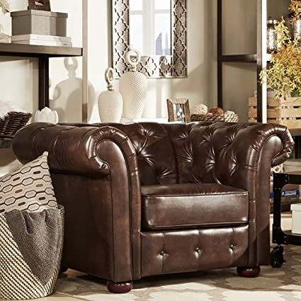 Etonnant Amazon.com: HOME Knightsbridge Brown Bonded Leather Tufted Scroll Arm Chesterfield  Chair: Kitchen U0026 Dining