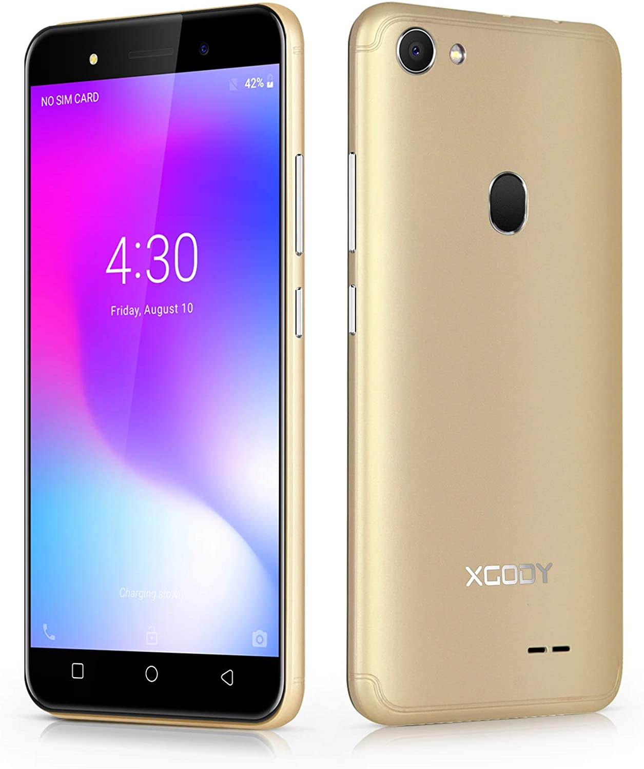Xgody X6 Android Go 8.1 Smartphone Unlocked, 5 Inch Sim Free Mobile Phone 3G Dual SIM 1GB RAM+8GB ROM 13MP+5MP Dual Camera, WiFi, GPS BT Cell Phone (Gold): Amazon.es: Electrónica