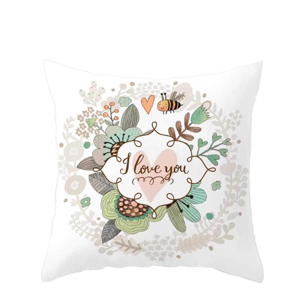 Wenini Easter Rabbit Print Pillow Case Throw Pillow Covers Cotton Linen Decorative Cushion Pillow Case Cover Home Sofa Decor 18 X 18 Inch