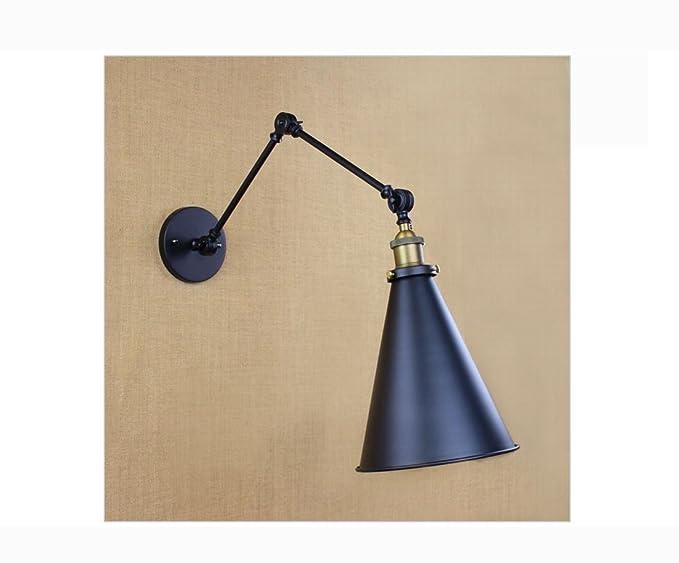 Lh nero retro regolare luci lampade testa altalena applique per