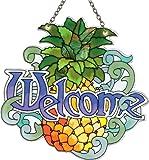 Joan Baker Designs SSD1011 Pineapple/Welcome Art Glass Suncatcher
