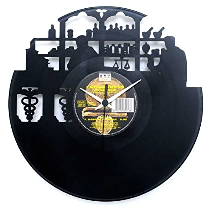 Pharmacist gifts Pharmacy inauguration Wall clock Vinyl clock Black color Original Vinyluse Made in Italy
