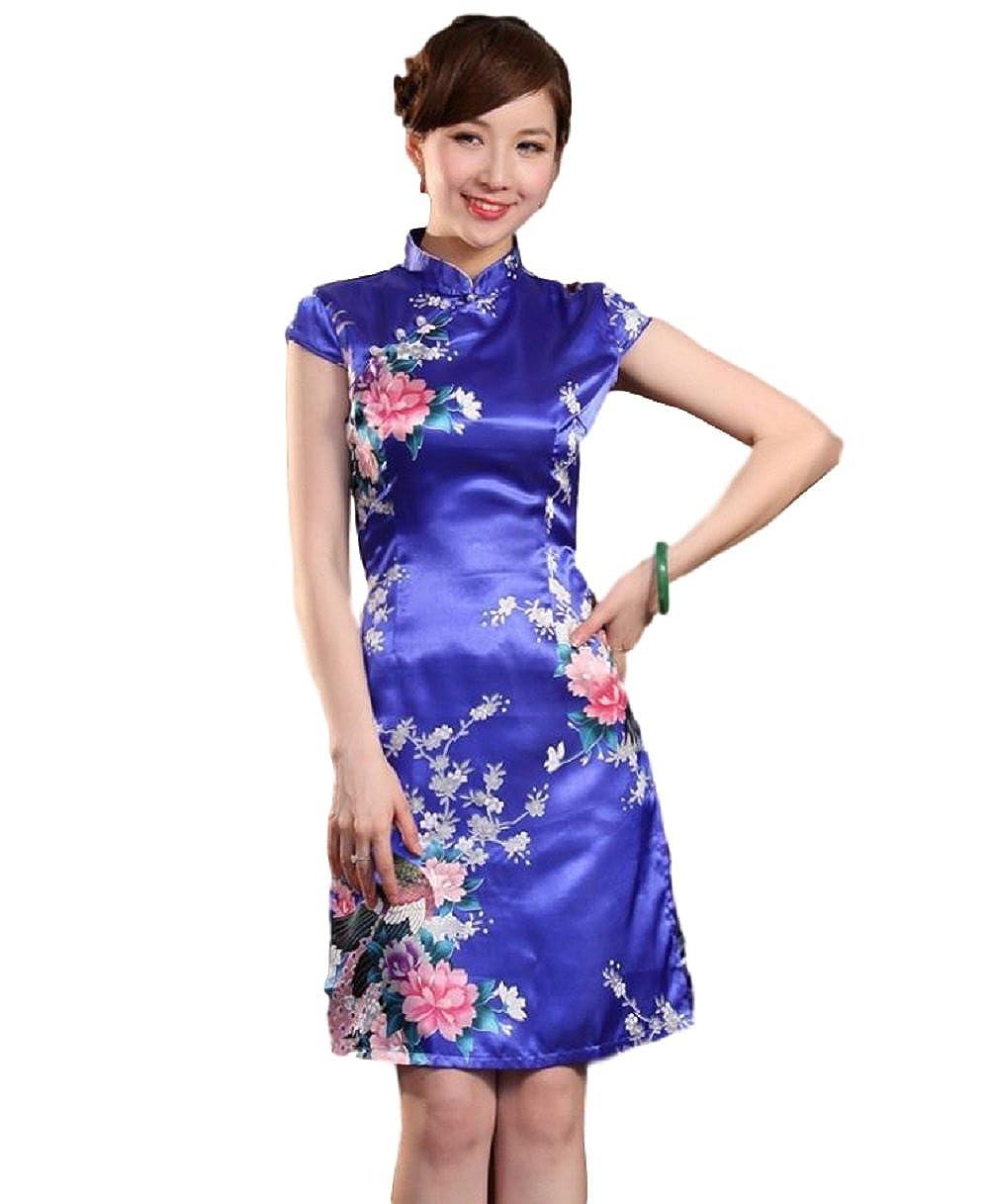 47b8d4cc3437 Top7: Women's Mini Chinese Dress Cheongsam [Red/Blue/Pink] Mandarin Gown  Qipao China Dress