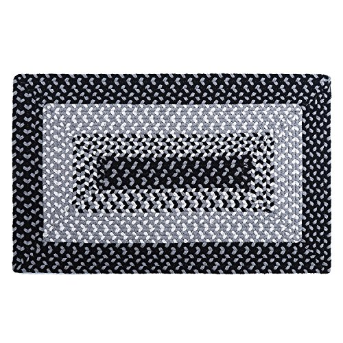 LOCHAS Braided Area Rug Hand Woven Reversible Solid Cotton Yarn Carpet for Kitchen Bathroom Front Door Living Room Bedroom Rugs, 1.6' x 2.6'
