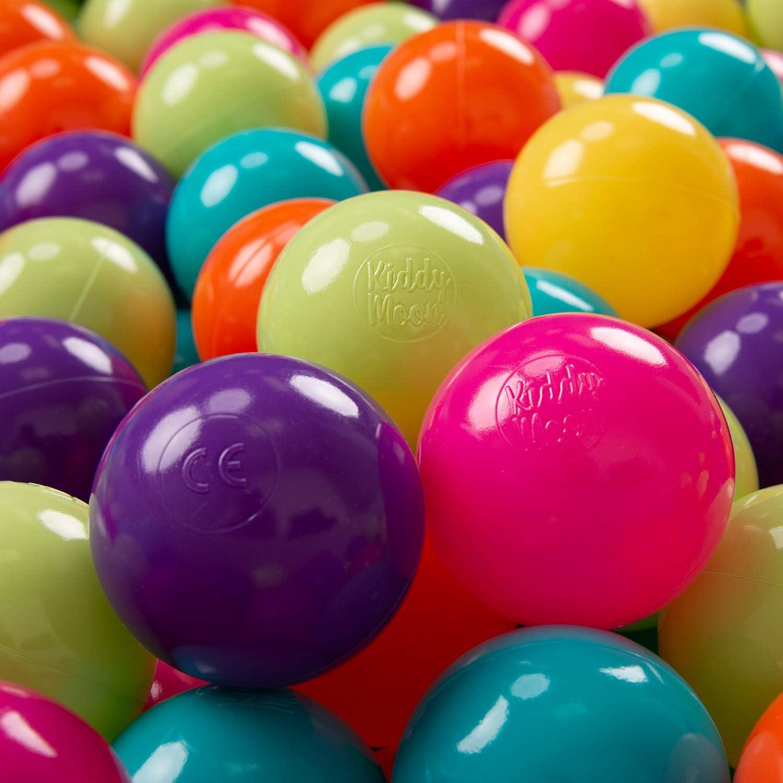 KiddyMoon 100 ∅ 7Cm Bolas Colores De Plástico para Piscina Certificadas para Niños, Verdeclr/Amarillo/Turquesa/Naranja/Rosaos/Violeta