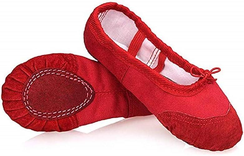 Red split semelle toile ballet danse gymnastique chaussures