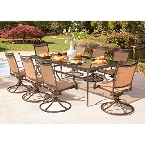 Hanover FNTDN9PCSWG-P Fontana 9 Piece Dining Set with 8 Swivel Rockers and Extra Long Glass-Top Table Outdoor Furniture, Brown