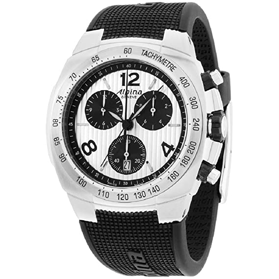 Alpina Avalancha plata Dial correa de silicona de hombre reloj al350lsbb4 a6: Amazon.es: Relojes