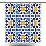 vanfan-Polyester Shower Curtains Islamic Geometric Ornaments Based On Traditional Arabic Art Oriental Seamless Pattern Muslim Polyester Bathroom Shower Curtain Set With Hooks(70 x 84 inches)