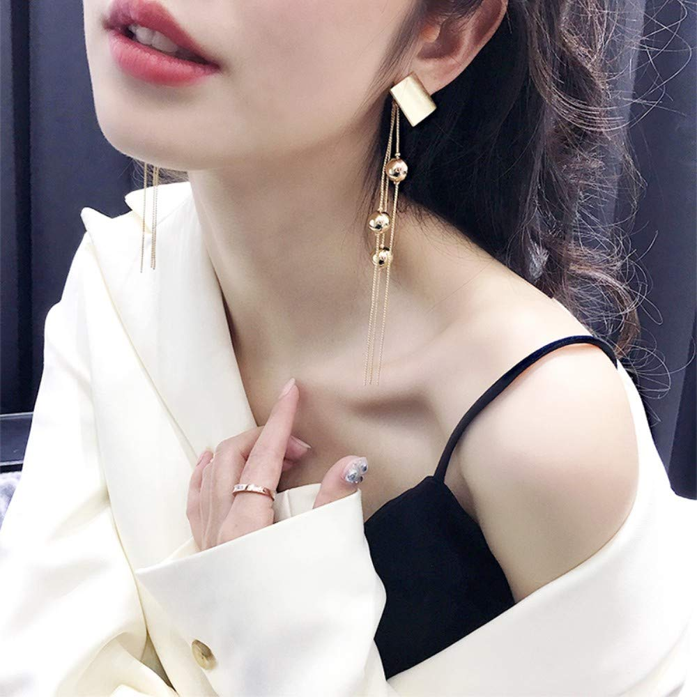 LSDAMW Earrings For Women Drop Dangle Girls S925 Silver Long Tassel Exaggerated Earrings