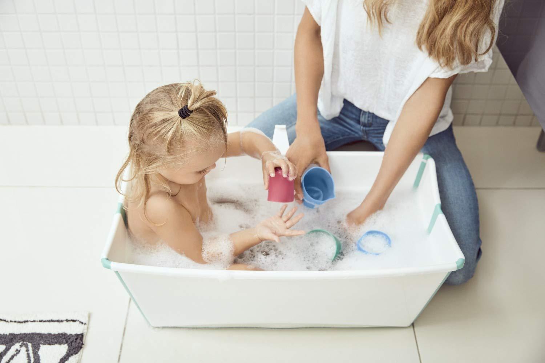 Stokke Flexi Bath faltbare Badewanne mit Halterung f/ür Neugeborene wei/ß//aqua