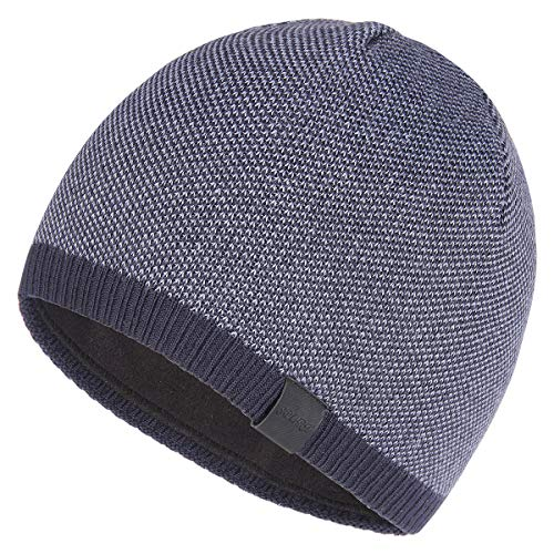 OMECHY Winter Knit Warm Hat Daily Thick Stretch Plain Beanie Ski Skull Cap with Fleece Lining, Navy