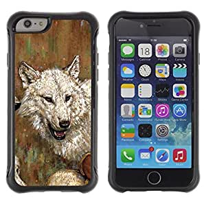 Fuerte Suave TPU GEL Caso Carcasa de Protección Funda para Apple Iphone 6 / Business Style Wolf Drawing Art Painting White Gray Oil Watercolor
