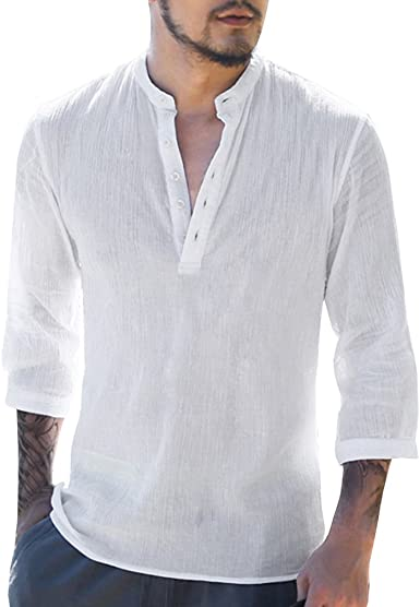 Camisa para Hombre - Lino Blusa Casual de Manga 3/4 Top Sin Cuello de Color Sólido Blusas Suelta Camisas de Trabajo Suave Cómodo Transpirable S-2XL: Amazon.es: Ropa y accesorios