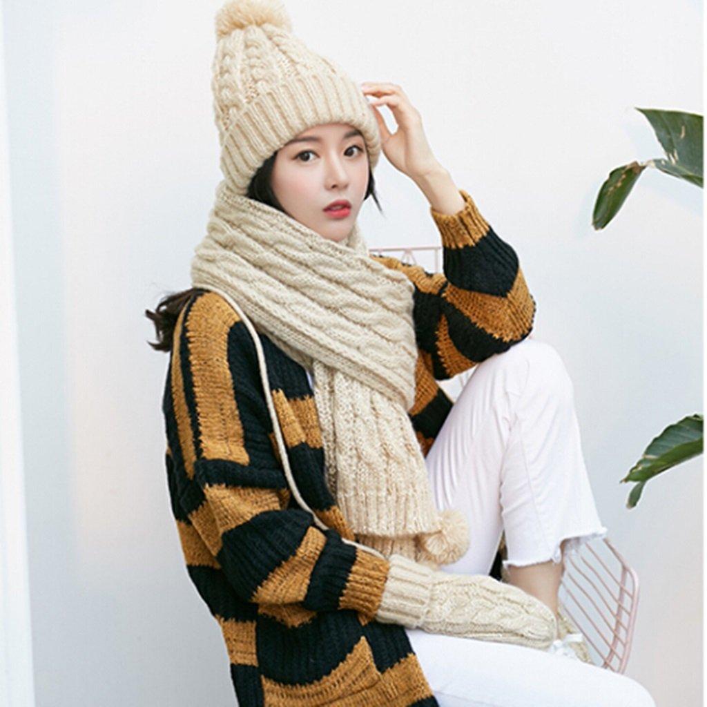 Cappello sciarpa guanti in tre pezzi lana coreana multicolore donna può essere utilizzato come regal...