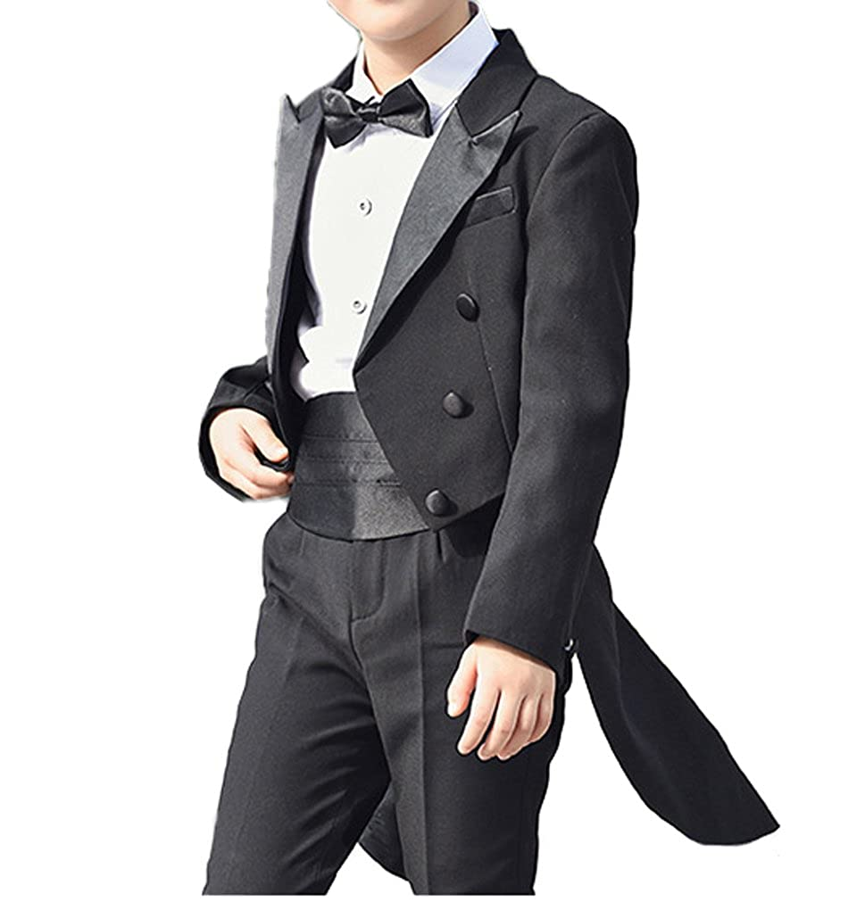 Boys Tail Tuxedo Suits With Tail Full Set Tailcoat Shirt Pants With Cummerbund Bow Tie