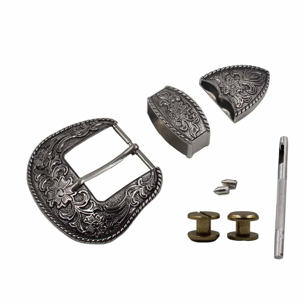 TOME 38 millimetri occidentale del cowboy fibbie d'argento inciso Belt Buckle Set 1-1/2PD05