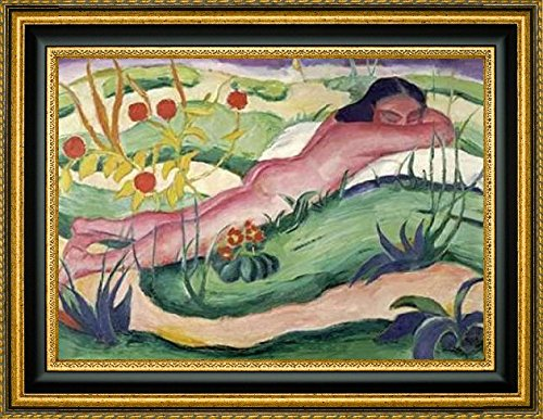 """Framed Canvas Print Wall Art Nude Lying In The Flowers by Franz Marc - 14"""" x 20"""" Ready to Hang"""