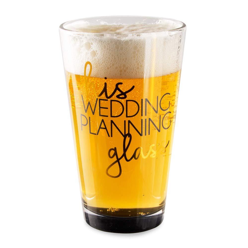 Pavilion Gift Company 61139 His Wedding Planning Glass-16 oz 16 oz Pint Glass Tumbler, Black by Pavilion Gift Company