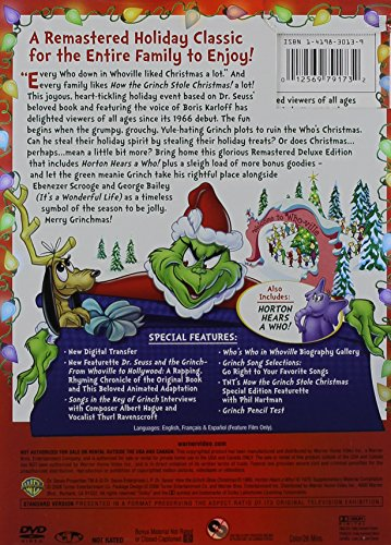 amazoncom dr seuss how the grinch stole christmas 50th anniversary deluxe edition boris karloff thurl ravenscroft june foray dal mckennon - How The Grinch Stole Christmas Video