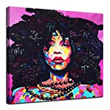 AMEMNY Abstract African American Canvas Bedroom Decor Wall Art Canvas Painting Graffiti Style Poster Print Painting Decoration Living Room Simple Framed Ready to Hang