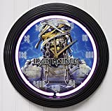 #6: IRON MAIDEN 4 15in PURPLE NEON ROCK N ROLL WALL CLOCK K1