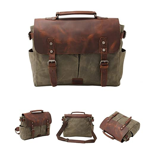VRIKOO Waterproof Canvas Leather Laptop Bag Briefcases Vintage Men's Messenger Shoulder Bags Satchels ikRI7rMB