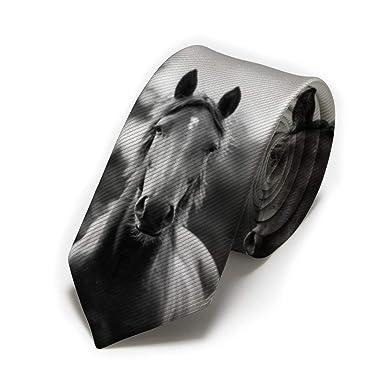 GZOSWLGS Corbata clásica de tres caballos con fondo negro para ...