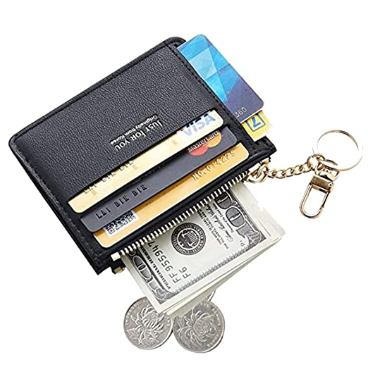 0ff7b6eb4bda Womens Leather Slim Card Case Holder Front Pocket Wallet Change Purse With  Keychain
