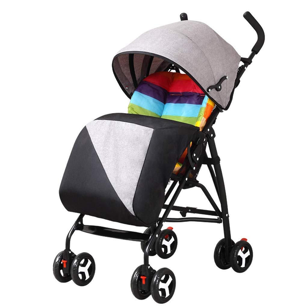 Zsail High View Baby Pushchair Travel System Newborn Infant Pram with Anti-Shock Spring for 0-36 Months with Warm Foot Cover (Color : Gray)