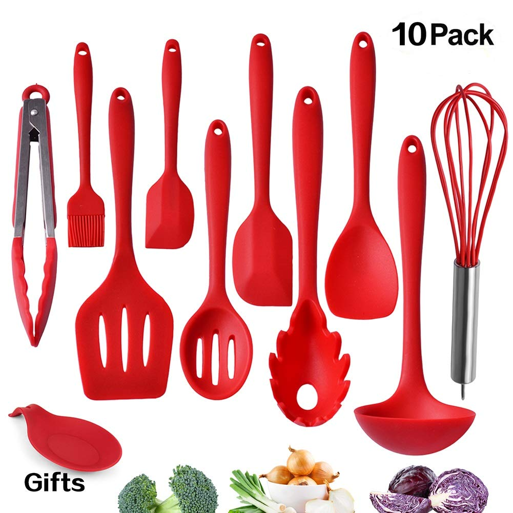 Kitchen Utensil Set, Silicone Heat-Resistant Non-Stick Kitchen Utensils Cooking Tools 10+1 Piece,Turner, Whisk, Spoon,Brush,spatula, Ladle Slotted turner Tongs Pasta Fork and Free Onion Tool. iMLucky HOMEKU-1