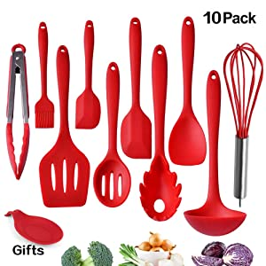 Kitchen Utensils, Silicone Heat-Resistant Non-Stick Kitchen Utensil Set Cooking Tools 10+1 Piece,Turner, Whisk, Spoon,Brush,spatula, Ladle Slotted turner Tongs Pasta Fork and Free Spoon Rest