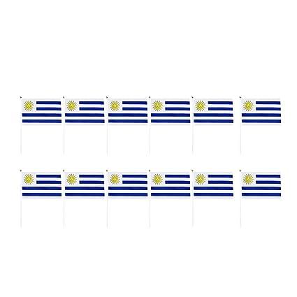 NON Sharplace 12pcs Banderas de Mano de Países Decoraciones para Fiesta Partido - Uruguay