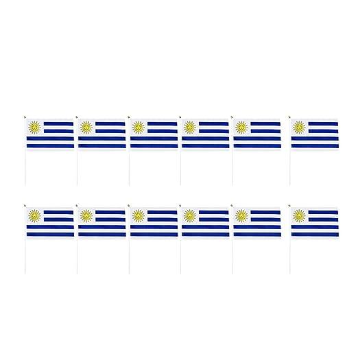 NON Sharplace 12pcs Banderas de Mano de Países Decoraciones para Fiesta Partido - Uruguay: Amazon.es: Juguetes y juegos