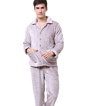 ACVXZ Men s Flannel Pajamas Thickening Warm Home Service Two-Piece Gray c498ede2c