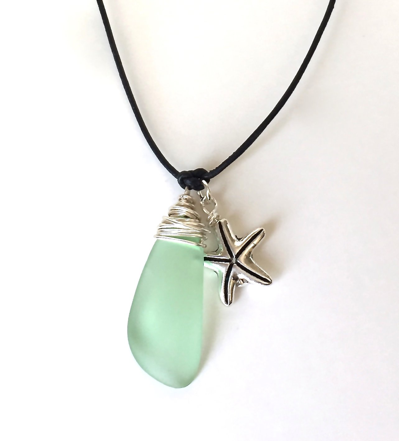 The SEA has my HEART Necklace with Seaglass and SeaShell Charm