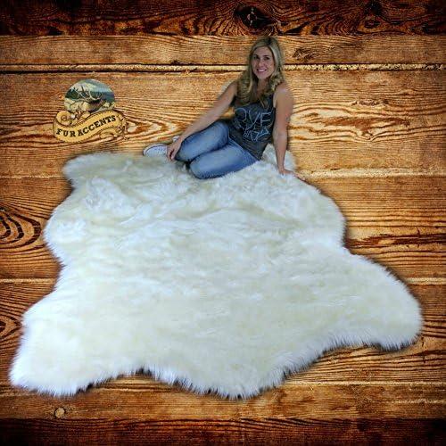 FUR ACCENTS Faux Bear Skin Pelt Rug White Alaskan Polar Bear Shag Carpet 5 x 8