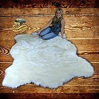 FUR ACCENTS Faux Bear Skin Pelt Rug / White Alaskan Polar Bear / Shag Carpet (5 x 8)