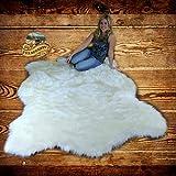 FUR ACCENTS Faux Bear Skin Pelt Rug / White Alaskan Polar Bear / Shag Carpet (5' x 8')